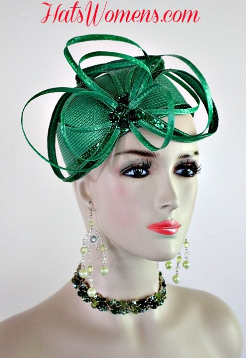 a385fc91012 Ladies Kelly Green Cocktail Hat Wedding Pillbox Cloche Formal Couture  Bridal Hats