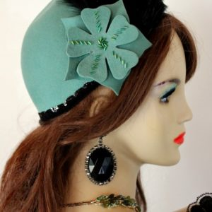 28f8043fdfebc Ladies Jade Green Black Cloche Flapper Roaring Twenties Hat Winter ...