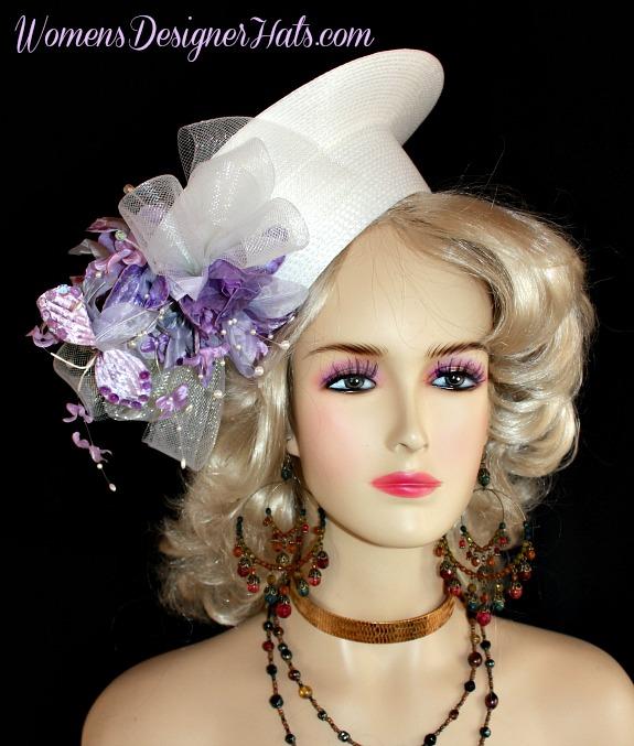 8ead4a39da280 Custom Crownless White Lavender Designer Hat Bridal Wedding ...