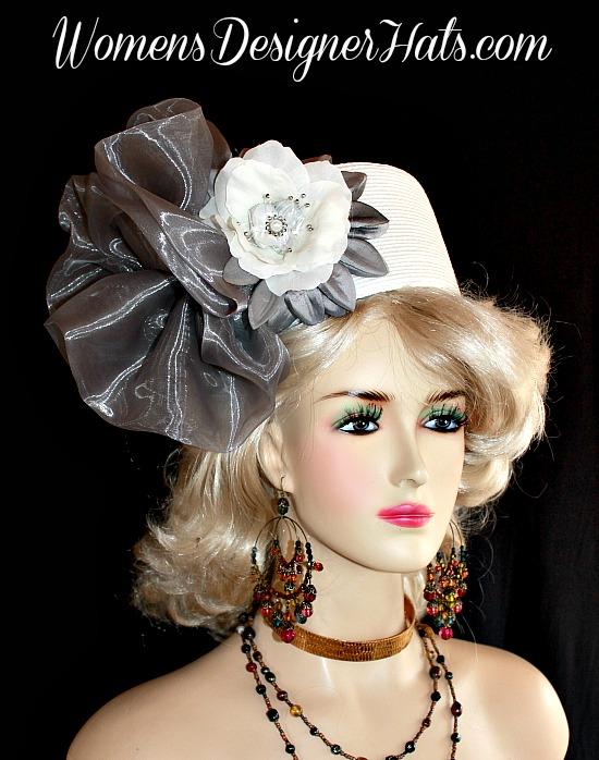 Hat White Silver Grey Pillbox Wedding Headpiece Woman s Designer ... e79e78d6f3a6