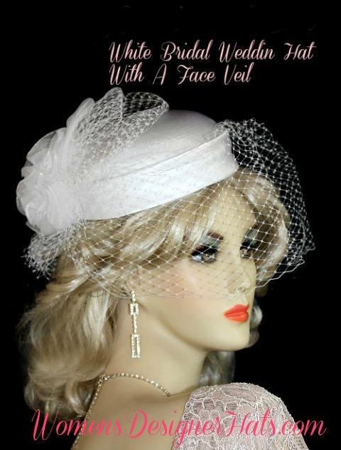 362999fa4dc White Satin Wedding Bridal Hat Headpiece With A Veil Bridal Brides ...