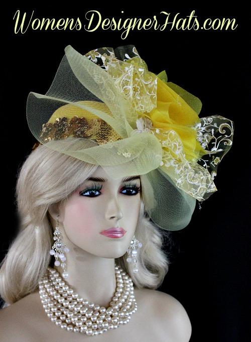 e718a49c56e95 Yellow White Metallic Gold Couture Designer Pillbox Wedding Bridal ...