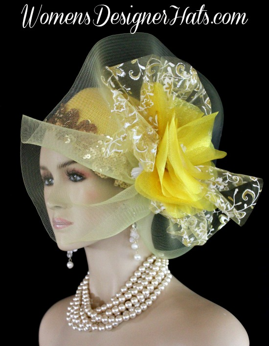 Las Yellow Metallic Gold White Tail Hats Formal Bridal Wedding Headpiece Headpieces Women S Designer