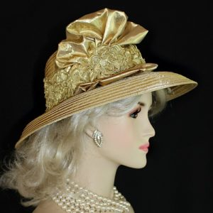 3c44c81960f9c Antique Metallic Gold Satin Designer Fashion Women s Hat Church ...