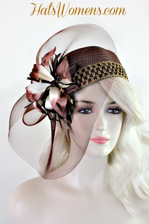 9f4a887d39a08 Ladies Brown Satin Cloche Flapper Pillbox Cocktail Hat