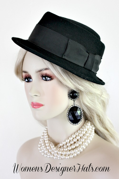 Ladies Men Vintage Pork Pie Black Winter Wool Designer Hat d0d76b834e8