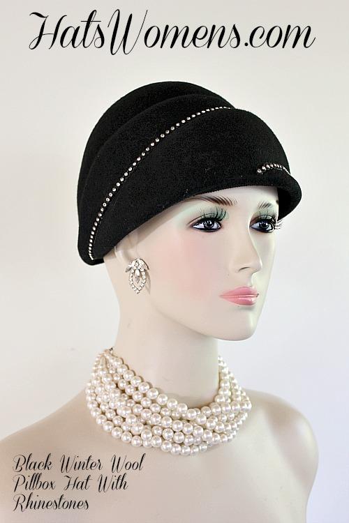 Ladies Black Winter Felt Wool Beehive Style Designer Pillbox Hat With  Rhinestones 5cf931a8afb