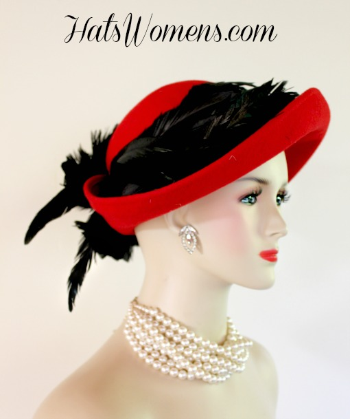 Ladies Red Custom Designer Winter Wool Hat With Black Feathers ... 2a35503235a