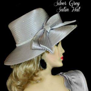 Ladies Designer Satin Hat Pink Royal Blue White Beige Black Navy Silver Grey  Fuchsia Fashion Hats cb2e78369e8
