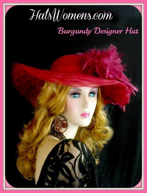 Women s Designer Burgundy Kentucky Derby Dress Wedding Hat c4f69bccebc7