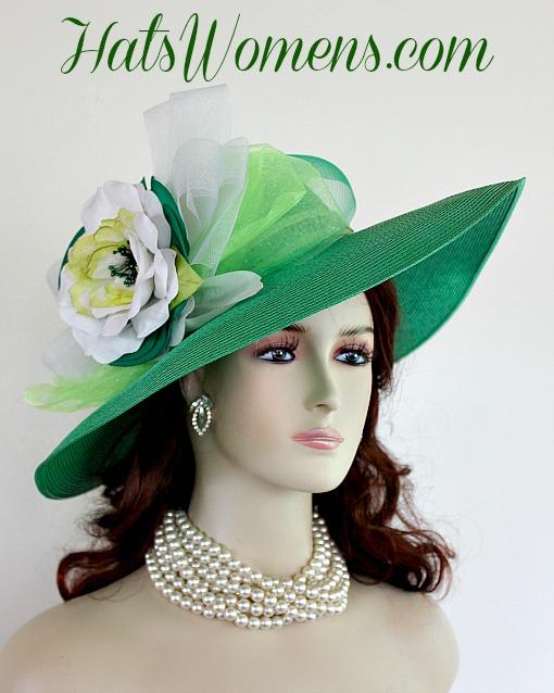 290b75811c5d9 Ladies Kelly Green White Lime Designer Fashion Hat