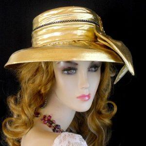 Women s Metallic Gold Black Rhinestone Designer Wedding Church Formal  Holiday Hat 3b8555db7c9