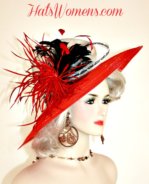Red Black White Hats For Wedding Guests Winter Spring Womans