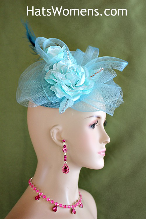 Green Kentucky Derby Feather Fascinator Easter Hat Mother/'s Day Wedding Hat