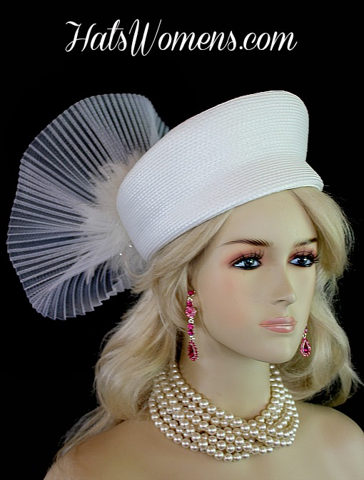 Women s White Pillbox Wedding Bridal Hat Headpiece 2e73933e9cb