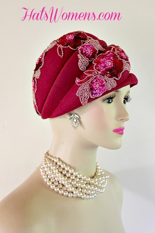 b9b194062b2a3 Ladies Women s Hot Pink Magenta Fuchsia Sequin Beaded Beehive Winter ...