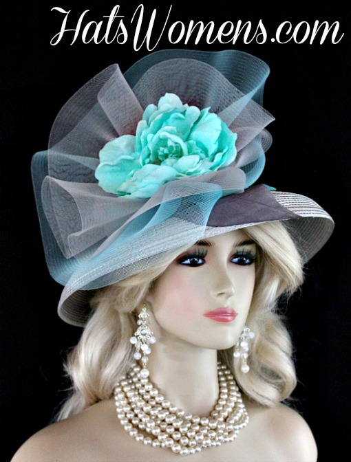 Women s Designer Silver Grey Aqua Turquoise Blue Designer Fashion Hat 32198616ae7