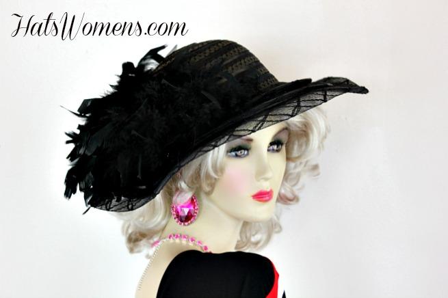 Women S Black Wide Brim Dress Hat With Feathers Formal Church 6ca4c16f6c0