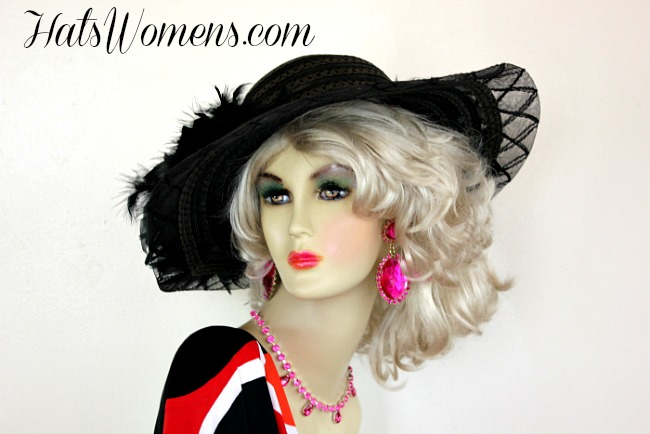 Women S Black Wide Brim Dress Hat With Feathers Formal Church
