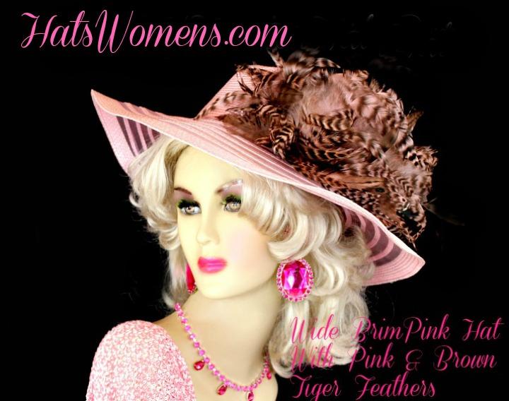 Ladies Pink Brown Striped Feather Designer Fashion Hat e3b90038472