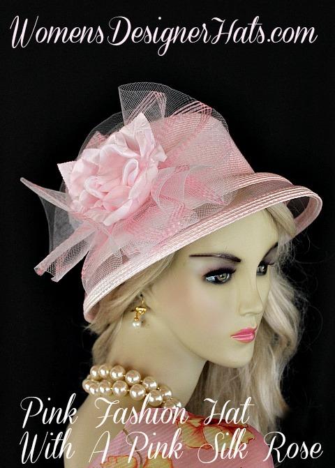 Ladies Pink Rose Designer Fashion Wedding Bridal Church Hat ... 5e4c12642de