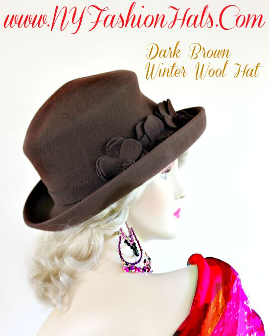Ladies Dark Brown Wool Felt Hat Dress Casual Designer Winter Hats ... 73412a80231