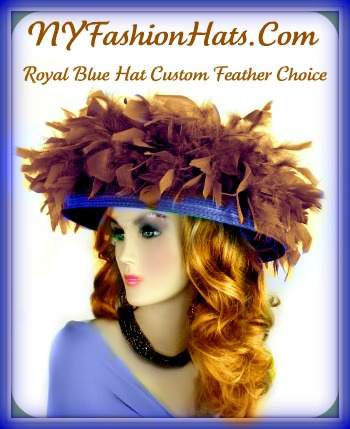 Royal Blue Purple Designer Wedding Kentucky Derby Fashion Hat ... a74bee20af9