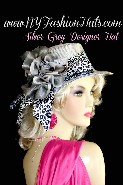 Silver Grey Casual Or Dress Designer Hat With A Black And White Sash ... 52125aa34724