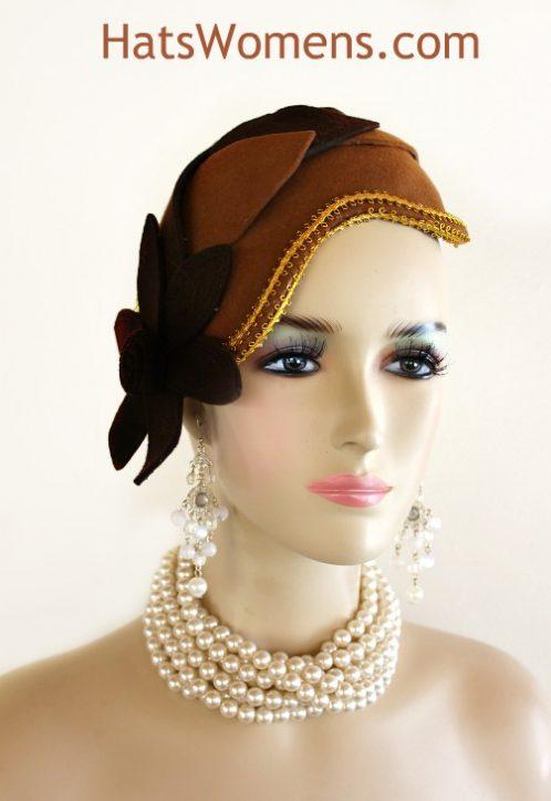 Ladies Coco Dark Brown Gold Winter Wool 1920 s Flapper Art Deco Cocktail Hat  Wedding Fascinator Designer Church Headpiece Hats d964f59c602