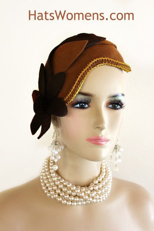 Women s Brown Gold Winter Wool 1920 s Style Flapper Hat Wedding Headpiece be3c7bc2161