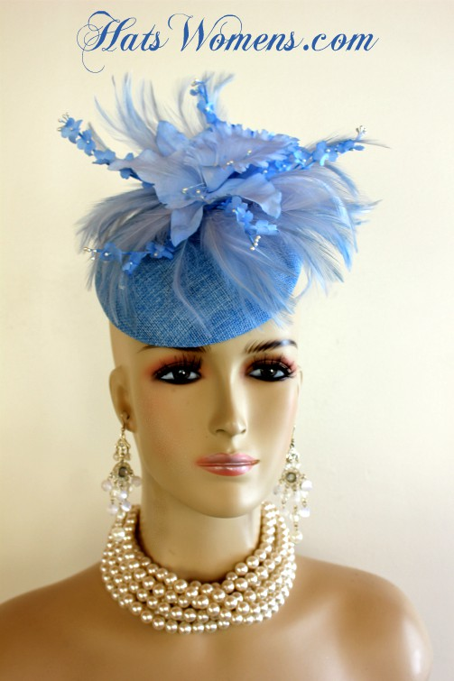 3b80a6a60fe Ladies Baby Blue Sinamay Straw Feathers Orchid Flower Wedding ...