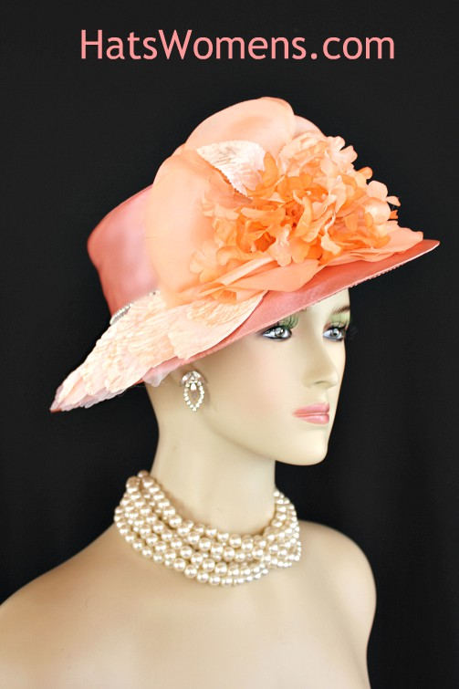 Ladies Peach Abstract Wide Brim Satin Designer Church Wedding Hat ... ccf373e3a47