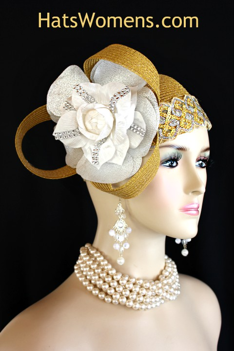 0fab9785b4463 Women s Metallic Gold Silver White Rose Designer Cloche Pillbox ...