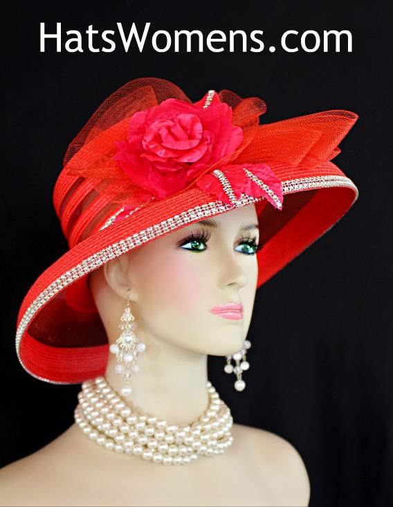 a6d62d88e Kentucky Derby Hats, Red Rhinestone Roses Wide Brim Wedding Church Occasion  Hat, Custom Designer Millinery Hats Women