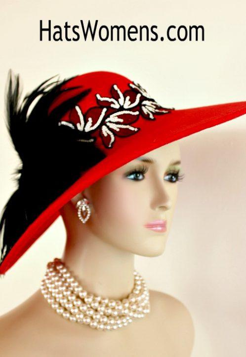 575446478bcfb Ladies Red Black Ivory Winter Wool Wide Brim Designer Hat
