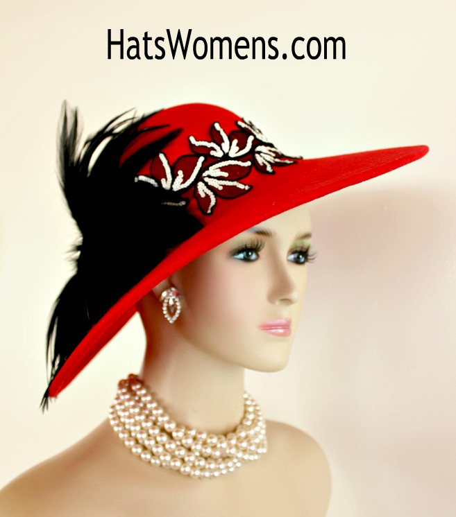 d9e20fd8834 Ladies Red Black Ivory Winter Wool Wide Brim Designer Hat, Sequin Feathers  Church Formal Hats Custom Millinery