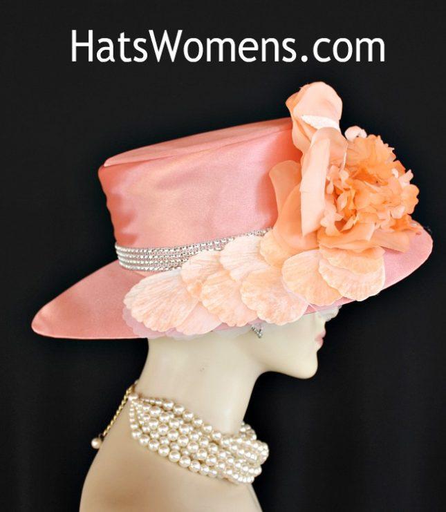 362262a65c6 Ladies Peach Abstract Wide Brim Satin Designer Church Wedding Hat ...