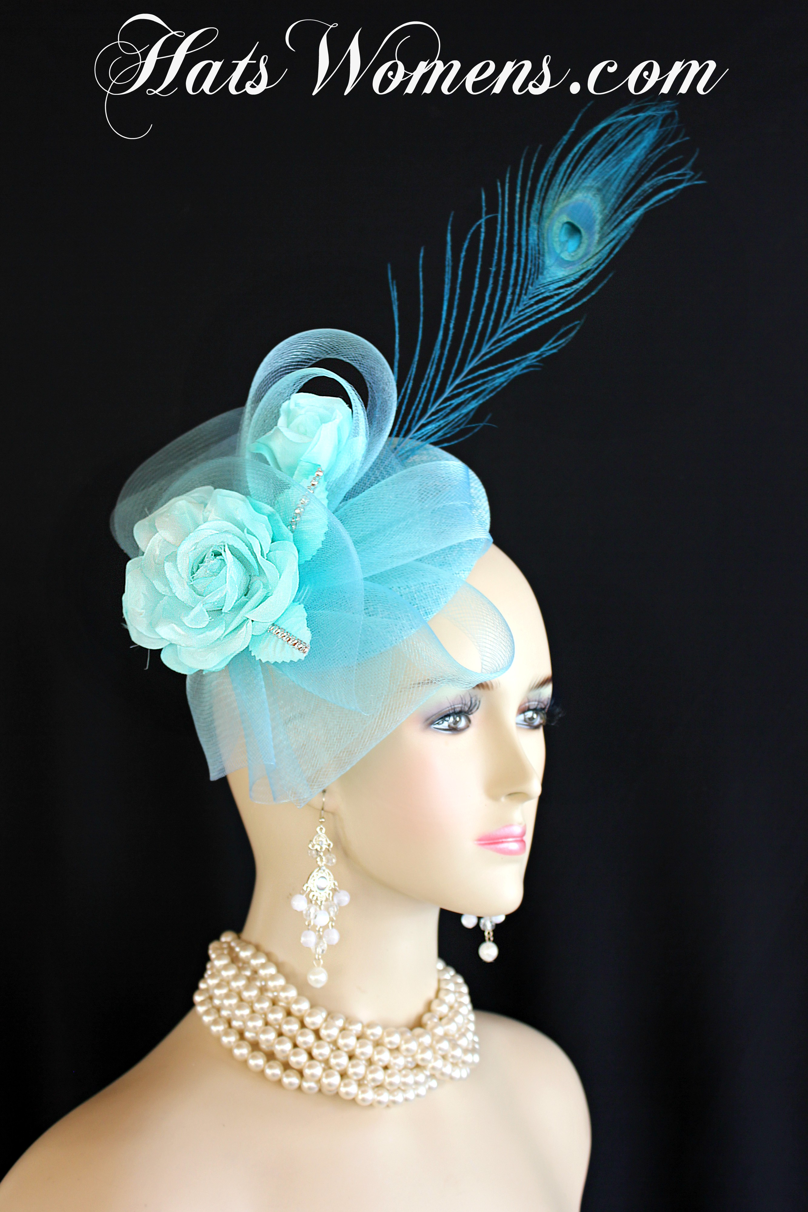 fdc33bfabecf3 Ladies Baby Blue And Turquoise Sinamay Straw Aqua Roses Peacock ...