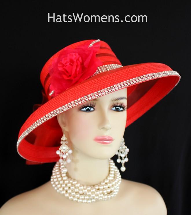 b7ef7d2d0d7 Ladies Red Formal Kentucky Derby Hat With Rhinestones Roses