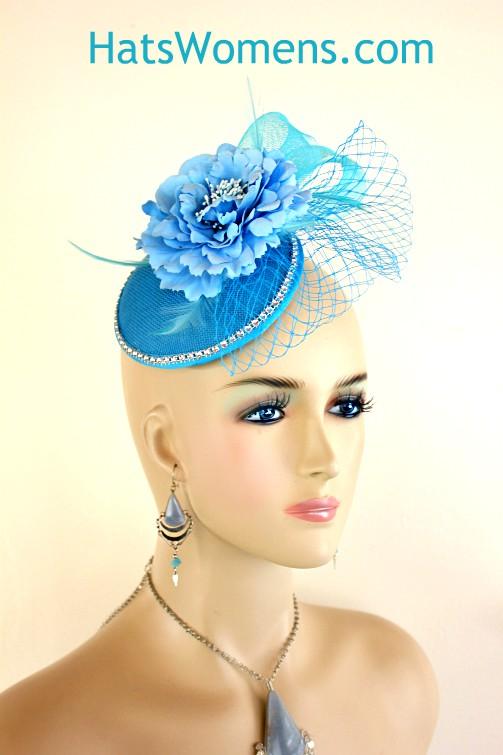 d14baecb5db58 Ladies Turquoise Baby Blue Sinamay Straw Rhinestone Wedding Bridal ...