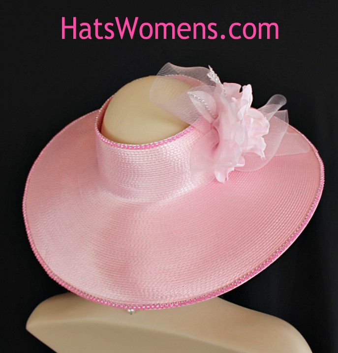 3dbf2617c6b Pink Silver Women s Crownless Wide Brim Kentucky Derby Hat