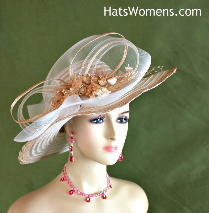 09bea251058 Women s Beige Coffee And Ivory Wide Brim Kentucky Derby Hat With Rosebuds