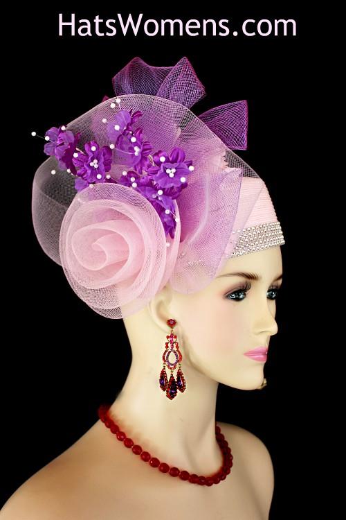 cb8079817719e Ladies Pink Purple White Designer Pillbox Fashion Hat