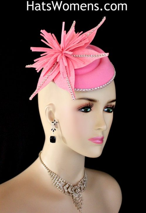 ba7cd3944d022 Ladies Pink Felt Mini Pillbox Hat Wedding Fascinator