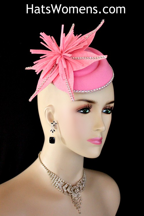 e2c89e92f975c Ladies Pink Felt Winter Spring Fall Wedding Fascinator Cocktail Hat ...