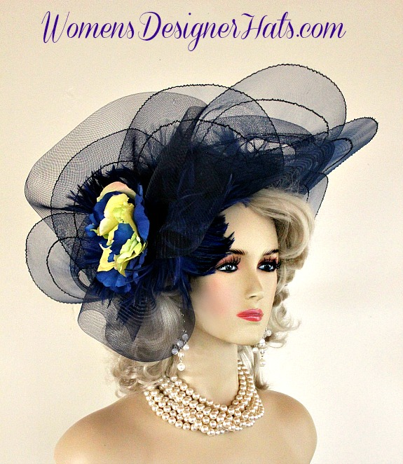 Navy Blue Lime Celery Yellow Couture Designer Fashion Hat